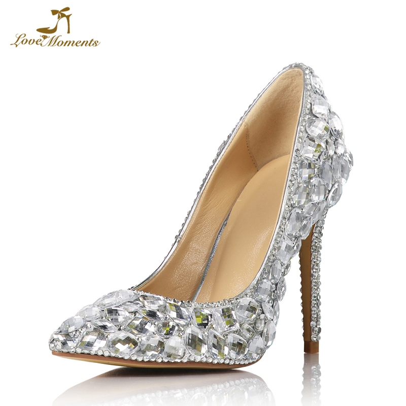 5e6c1f85b8a Pointed Toe Gorgeous Crystal Wedding Shoes T-stage Performance High Heel  Shoes Gorgeous Rhinestone Cinderella