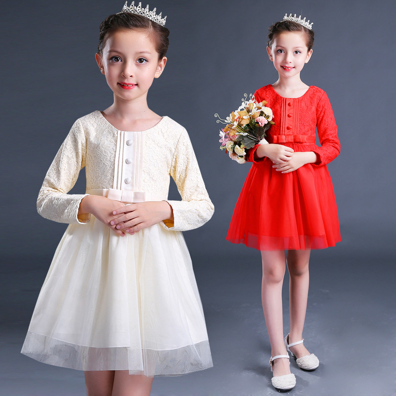 Costume Princess Autumn Birthday Dress Girls Long Sleeve Kids Clothing Solid Layer Robe Fille Bow Children Dresses 12 Years girls europe and the united states children s wear red princess long sleeve princess dress child kids clothing red bow lace