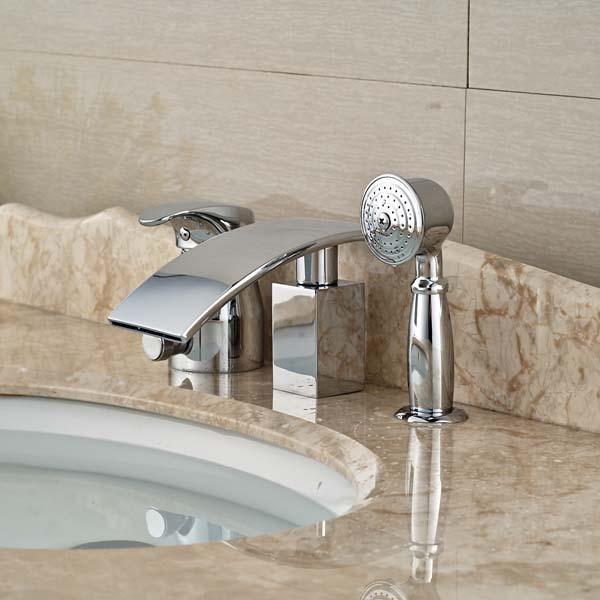 Modern Waterfall Bathroom Tub Faucet W/ Hand Shower Sprayer Diverter Mixer  Tap