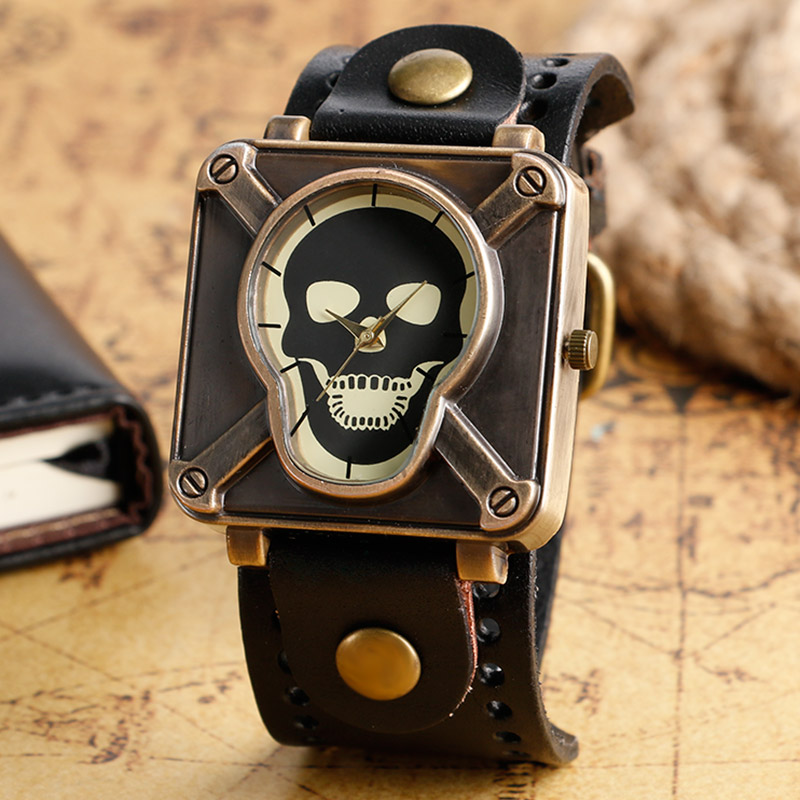2016 Hot Selling Wrist Watch Skull Face Crossbone Quartz-watch 4 Styles Wristwatches With Leather Band Clock Men Women Gift