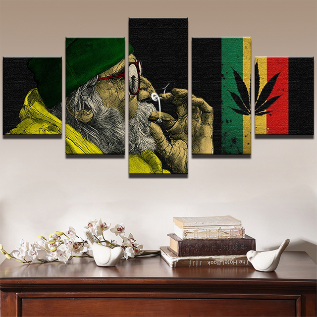Modern wall art canvas prints picture 5 panel weed smoke cloud landscape canvas painting modular painting