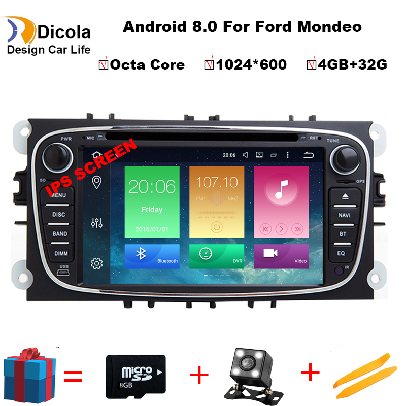 Android 8.0 Octa base 1024*600 RAM 4g Voiture Lecteur DVD GPS Pour FORD Mondeo S-MAX Connect POINT 2 2008 2009 2010 2011 avec wifi
