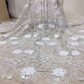 Embroidered Tulle Lace Fabric,pink seqions Pearls Lace Applique Fabric For Wedding, African 3D Flower Lace Fabric High Quality