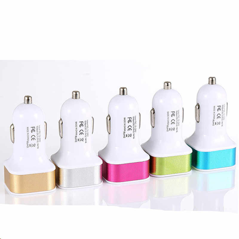 DC 12 V input 5V 2.1A/1A output Dual USB car Charger metal round head car battery charger for iphone Samsung for xiaomi huawei
