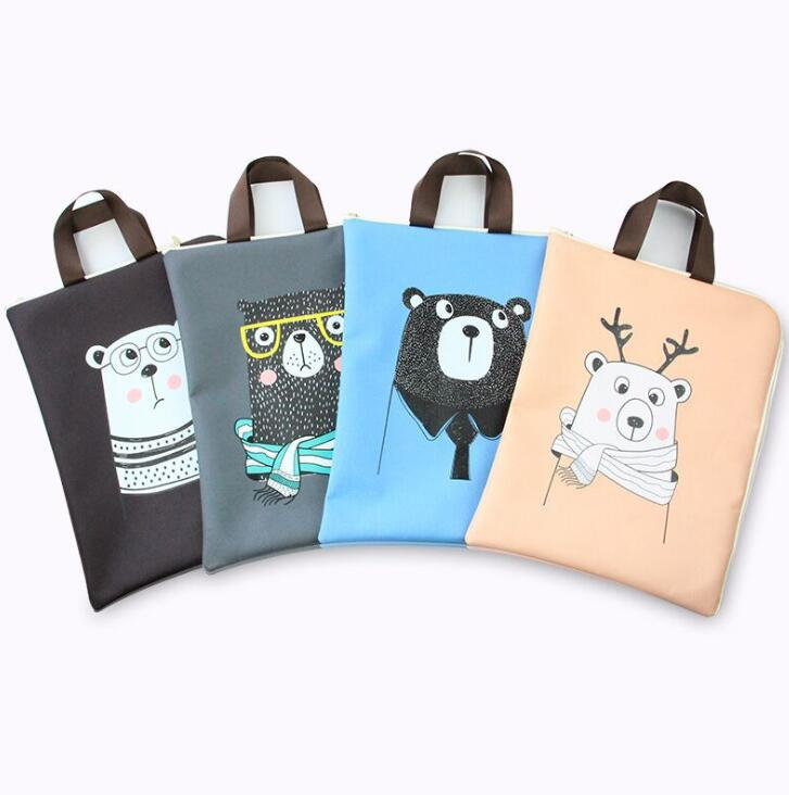 A4 Document Bag Cartoon Animals Cat Bear Folder Bag Cute Simple Oxford Cloth Documents Folder For Filing Products
