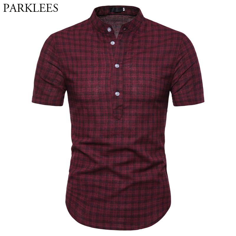 Mens Stand Collar Small Plaid Shirt 2019 Summer Short Sleeve Slim Fit Chemise Homme Casual Cotton Breathable Thin Shirt For Men