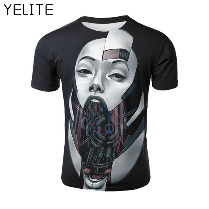 YELITE Holding the skull of a rose New Mens 3D   T     Shirt   Casual Chin detachment   T  -  shirt   Male Top Print Short Sleeve   T  -  shirt   O-neck