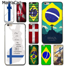 MaiYaCa National flag Brazil Denmark Finland Phone Accessories Case for iPhone 8 7 6 6S Plus X XS XR XSMax 5 5S SE Coque Shell us national flag style protective epoxy back case for iphone 5 5s red blue