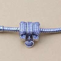 925 Sterling Silver Beads Fits Pandora Bracelets Heart Pendant Cubic Zirconia Bowknot Charms