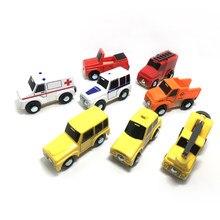 8 pçs/set Boutique carro compatível com a madeira track pode ser conduzido na pista do carro crianças brinquedos