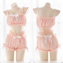 Japanischen Nette Lolita Dessous Rüschen Weste Bh und Panty Unterwäsche Set Mädchen Frische Spitze Verführerischem Dessous Kawaii Outfit Sets