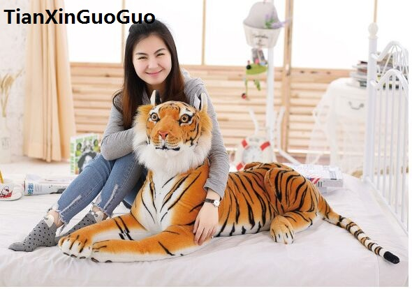 large 105cm yellow tiger plush toy simulation prone tiger soft doll sleeping pillow birthday gift s0485 stuffed animal 145cm plush tiger toy about 57 inch simulation tiger doll great gift w014
