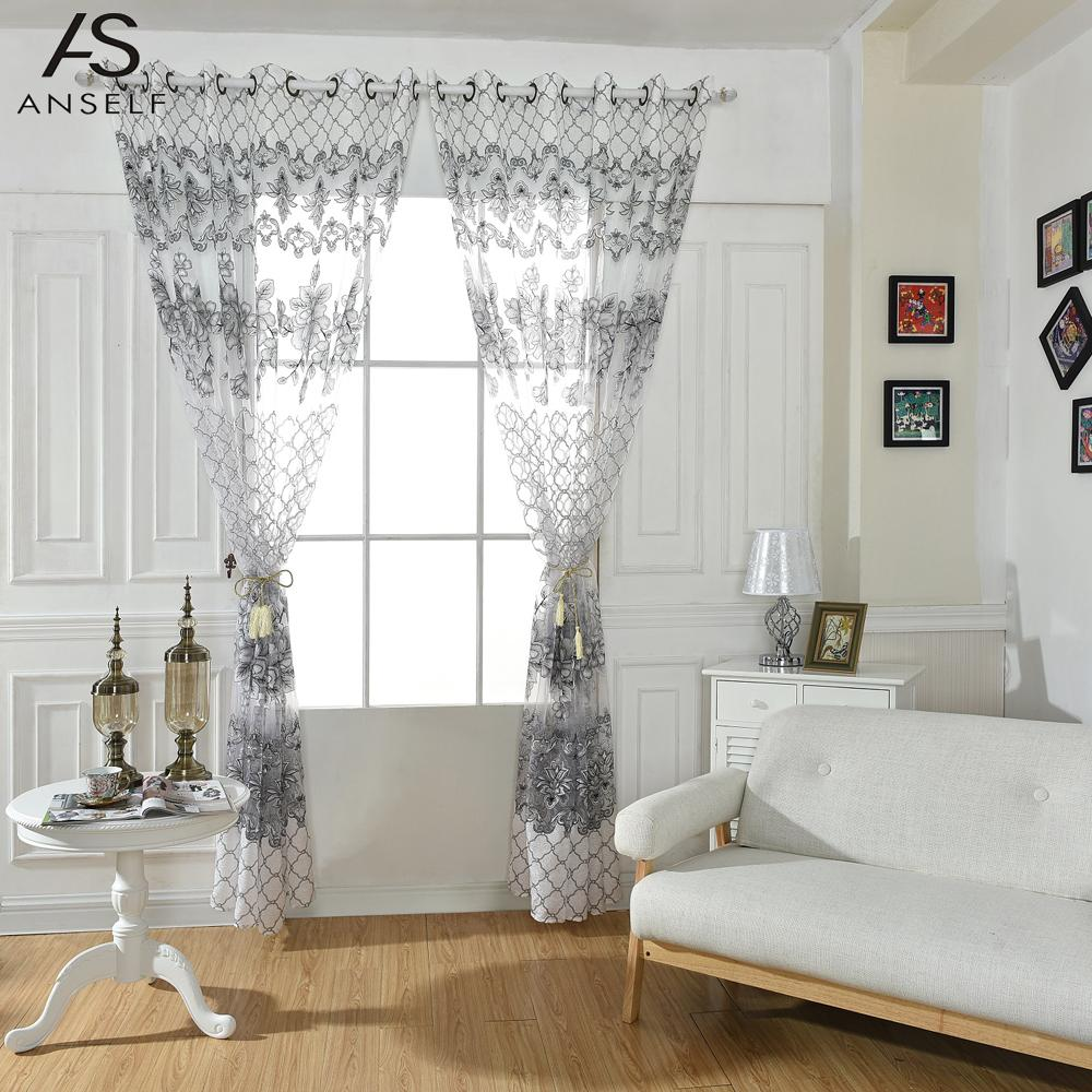 Curtains for doors with half windows - Anself 2pcs Curtain Big Flowers Jacquard Burnt Out Half Shading Voile Curtain For Door Window