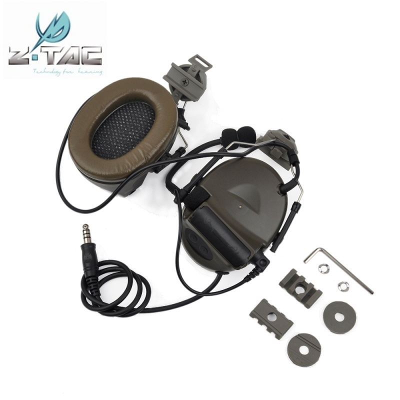 Z-Tactical Z031 Comtac II Headset With Peltor Helmet Rail Adapter Set For FAST Helmets Military Airsoft Tactical Headphone acecare l sordin headset for fast helmets helmet accessories rail adapter set