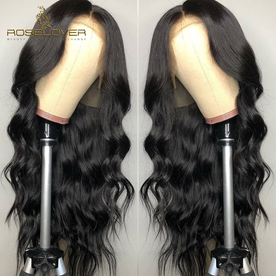 ROSELOVER 13*6 Body Wave Lace Front Human Hair Wigs For Black Women With Baby Hair Brazilian Remy Hair Pre-Plucked Bleach Knots