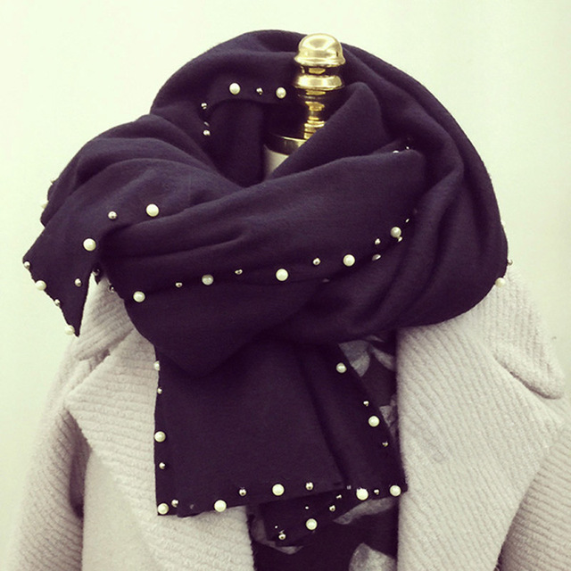 Pearl Rim Decor Warm Scarf | Blanket Scarves | Up to 60% Off Now