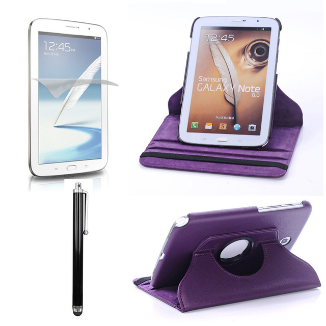 Magnetic 360 Rotating Smart Stand Cover Case for Samsung Galaxy Note 8.0 inch GT - N5100 W/ Film & Stylus (Purple)