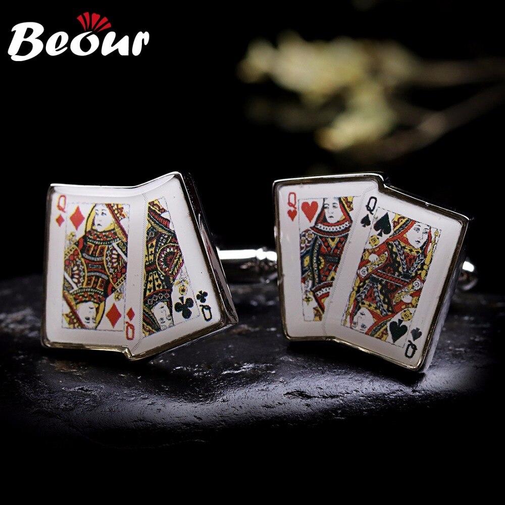 f8f8182155a Abotoaduras de alta qualidade Abotoaduras Para camisas Dos Homens por  atacado marca de poker Q abotoaduras 0131 Frete grátis