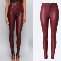 Brand Jeans Women Sexy Wine Red High Wiast Faux Leather Biker Pants Slim PU Skinny Jeans Pencil Pants
