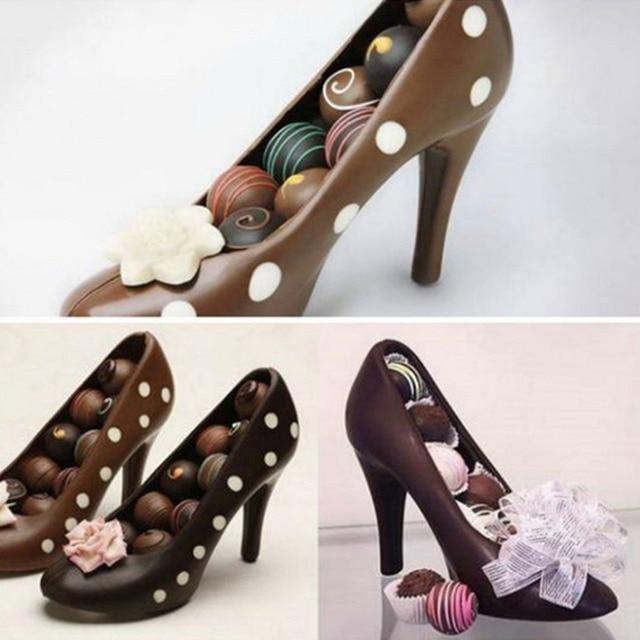 a4d9bc51a Sapatos de Salto alto De Chocolate PC Molde Doces Pacote 3D Instruções de  Moldagem Fondant Moldes