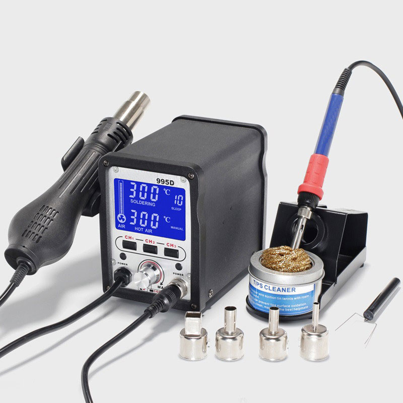 995D 2 In 1 Soldering Station Hot Air Gun Soldering Iron Repair Desoldering Welding 110V/220V EU US Plug yihua soldering station 995d hot air gun soldering iron motherboard desoldering welding repair 110v 220v 2 in 1 electric iron