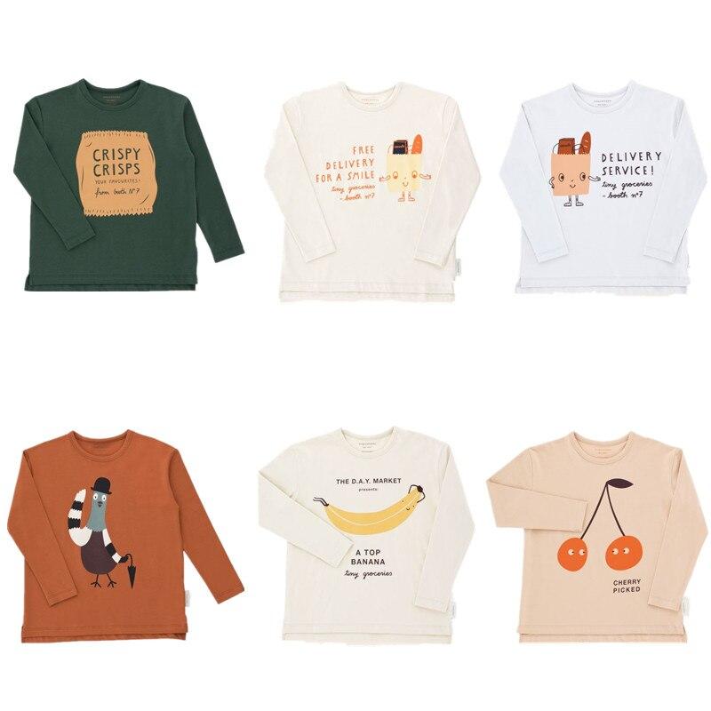 Kinder Jungen T-shirt Tiny Baumwolle 2018 Herbst Baby Mädchen Kirsche Abgeholt Tops Jungen Langarm Freundliche Tasche Graphic Tee Shirt 1-10Y