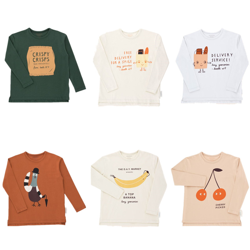 Niños niño camiseta algodón minúsculo 2018 otoño niña cereza recogido Tops niños de manga larga bolsa gráfico camiseta 1-10Y