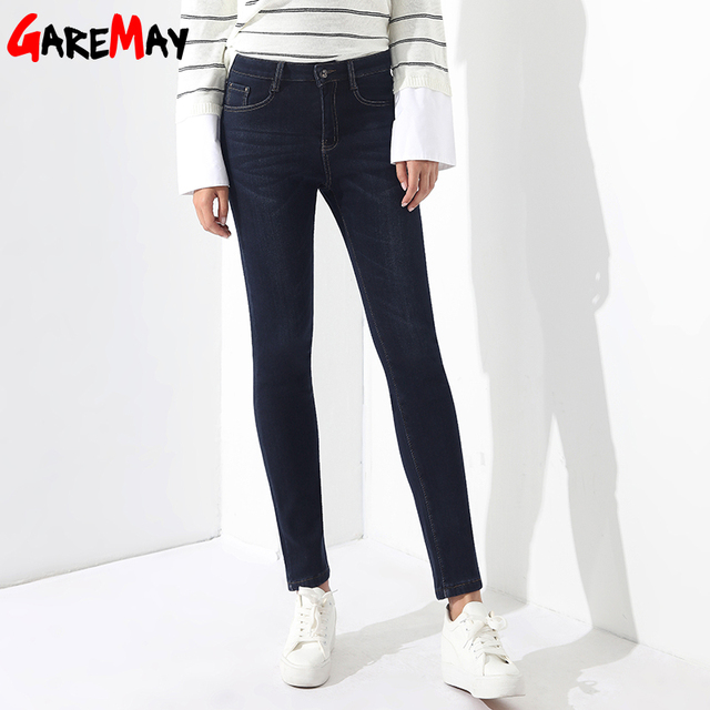 Warm Jeans For Woman High Waist Plus Size Mom Jeans Winter Jean Femme 2017 Skinny Denim Women's Trousers Classic  GAREMAY