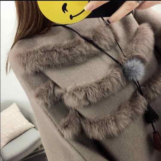 Otoño e Invierno mujeres alto Collar Real piel de conejo capa pulóver señora murciélago mangas borla Poncho suéter punto E953