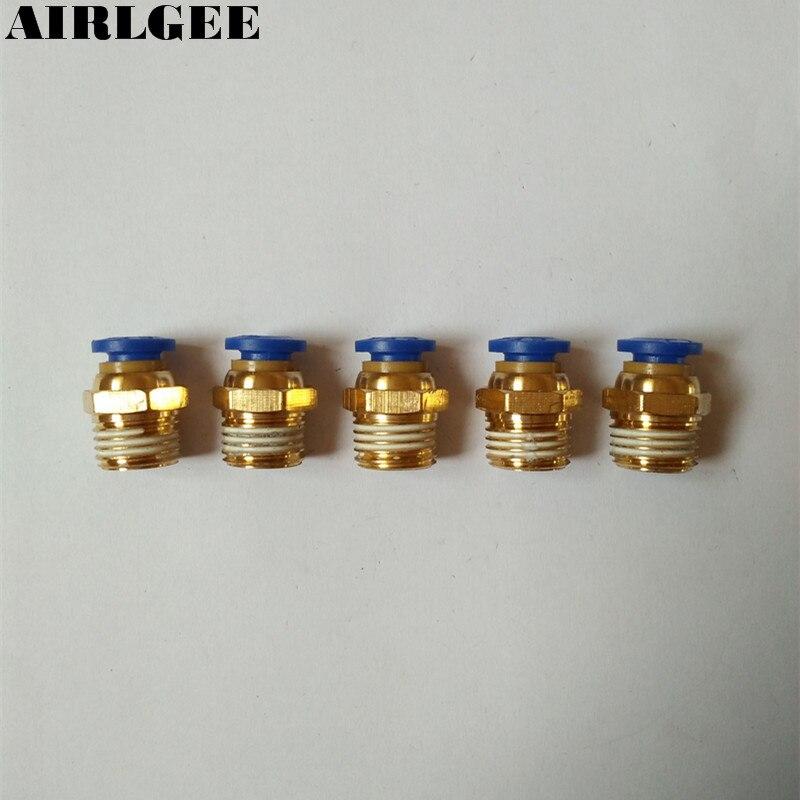 5 Pcs Air Pneumatic 1/4 PT Thread Diameter 6mm Hole Brass Quick Connector 5 pieces 1 4 pt thread diameter brass internal hex head pipe plug