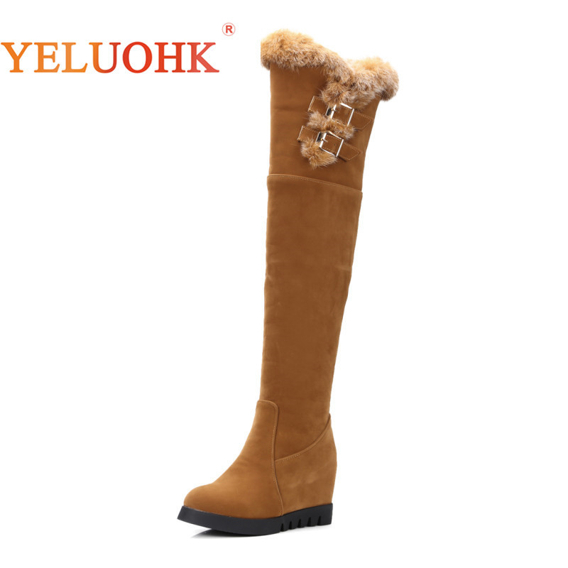 34-43 Over The Knee Boots Big Size Thigh High Boots Heel Women Winter Shoes Plush Warm Women High Boots 7.5 CM bonjomarisa big size women high heel boots over the knee thigh high boots sexy lady fashion winter shoes knight boots xb345
