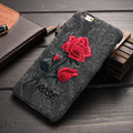 Vintage Embroidery Rose Phone Case For iPhone 7 6 6s Original Ultra Thin Back Cover Fundas for iPhone 7 6 6s Plus Protective