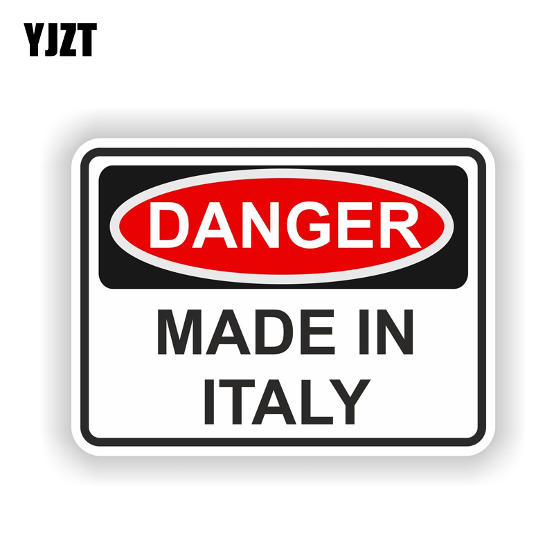 YJZT 14.6CM*10.6CM Car Styling MADE IN ITALY DANGER Warning Car Sticker Body Decal 6-1775