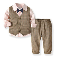 Children Clothes Baby Boy Set 2019 Spring Kids 3PC Party Formal Suit Long Sleeve Shirt With Bow+Plaid V neck Wiastcoat+Pant Set