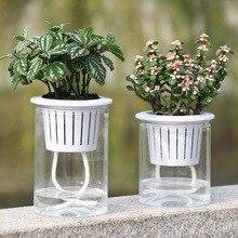 Self Watering Flowerpot Hydroponic Plants Lazy Succulent Plant Cactus Transparent Plastic Vase Home Garden Supplies