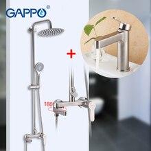 GAPPO baterie prysznicowe ze stali nierdzewnej łazienka prysznic kran wodospad łazienka zestaw prysznicowy z deszczownicą baterie umywalkowe torneira