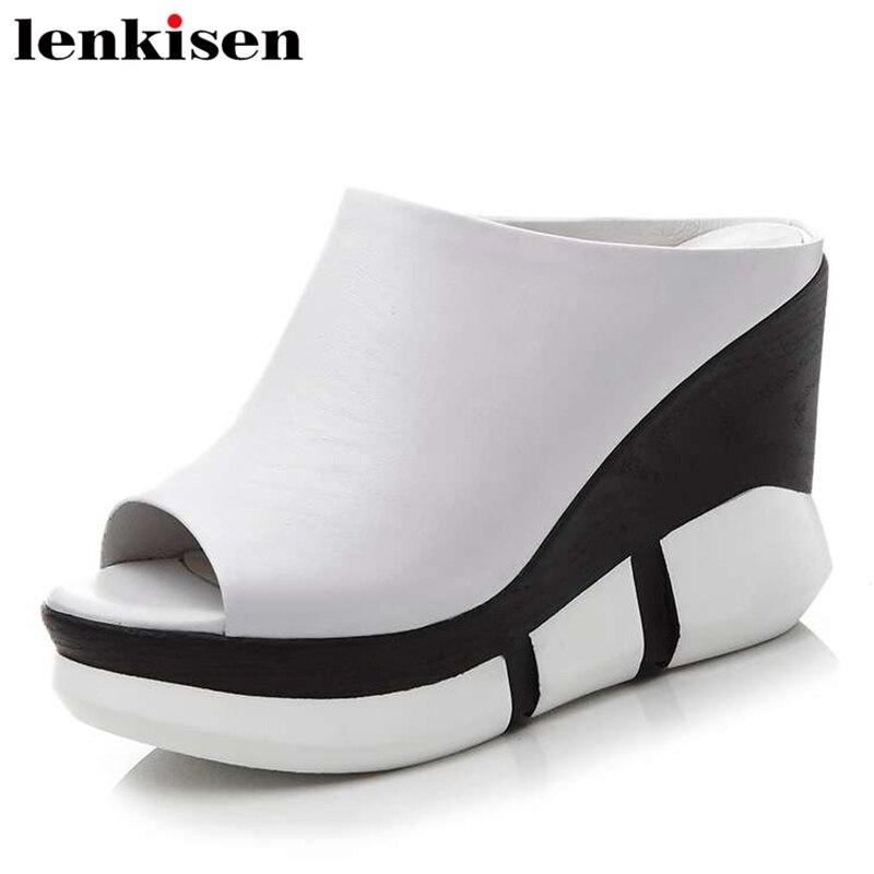 Lenkisen cheap inexpensive natural leather slip on vintage super high heel wedge platform party runway fashion