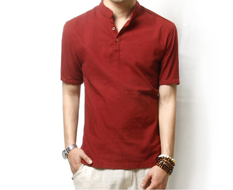 Hot New Solid Polo Shirt Men Casual Mandarin Collar Linen Polo Men Short  Sleeve Breathable Polos Plus Size M 3XL Chinese Style-in Polo from Men\u0027s  Clothing ...