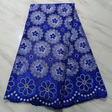 Zwitserse gat kant katoen stof bloemen geborduurd met stenen, 5 yards hoge kwaliteit nigeriaanse materiaal tissu africain brode coton