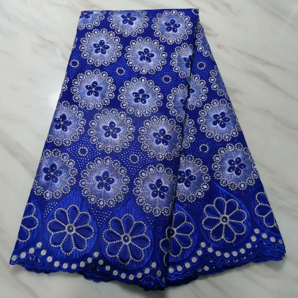 swiss hole lace cotton fabric flowers embroidered with stones,5  yards high quality nigerian material tissu africain brode cotonFabric