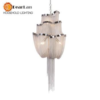 Tela arte colgante lámpara cadena polipasto entrada escalera Lámpara diseño de ingeniería cadena de lujo borla Cadena de aluminio lámparas colgantes de interior