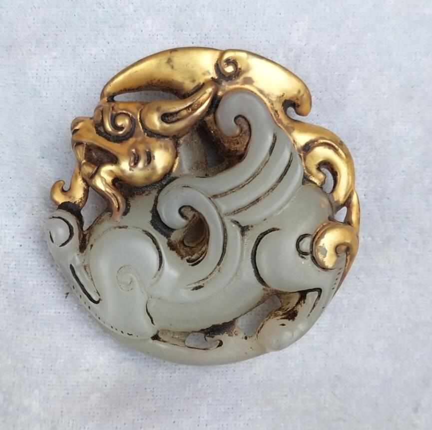 Chinese Carved Jade Immortal on Lotus Leaf Antique 19th