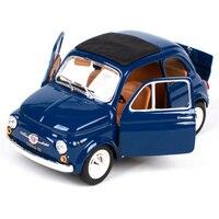 Bburago 1:24 1965 Fiat 500f blue yellow car diecast 135*62*65mm open doors ancient motorcar diecast collecting car models 22098
