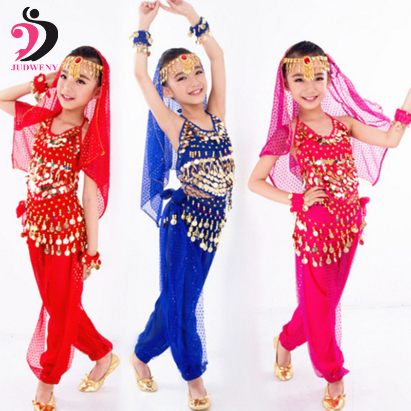 Children Belly Dance Costumes Set Kids Girls Belly Dancing Bollywood Handmade Indian Costumes Belt Competition Dresses 6 Colors