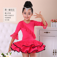Free shipping110-160cm red rosy blue hot sell fashion rumba latin dance dress tango competition  professional girl child costume