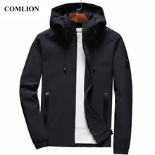 COMLION Casual Solid Hooded Jackets Mens Zipper Outwear Slim Fit Clothing