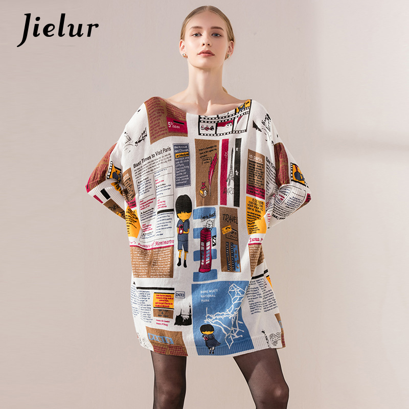 Europe Autumn Fashion Soft Casual Women Sweaters and Pullovers Bat Sleeve Geometric Cartoon Print Ladies Plus Size Knit Sweater