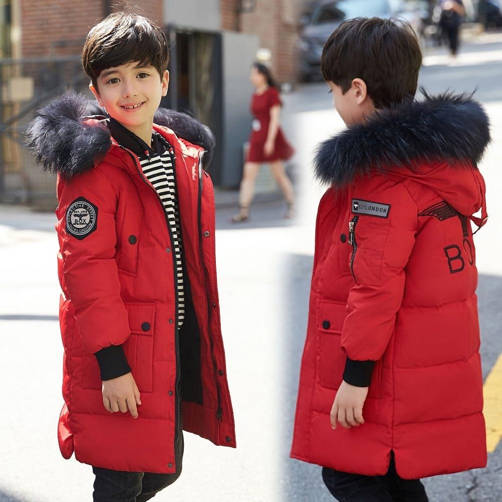 995e2cde1e10 Winter Boy s Down Jackets Children Down Parkas Coat Natural Fur Warm Kids  Coats Teenager Thick Duck Down Outerwear -30degree