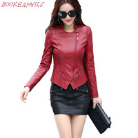 2017 New Fashion Women Faux Leather Jackets Zipper Slim Short Design Motorcycle Leather Coat Plus Size