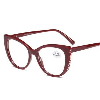 8596e845f4 Las mujeres elegantes de ojo de gato luz acogedor las gafas de lectura de  alta calidad la presbicia 0,5, 1,0, 1,5, 2,0, 2,5, 3,0, 3,5, 4,0 dioptrías